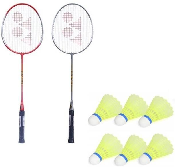 AS Badminton Set Of 2 Piece Racquet with 6 Piece Plastic Shuttle Single Shaft Badminton Kit