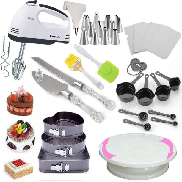 Unique Impex All In One Cake Making Tools Combo-8 All In One Cake Making Tools Combo 8 in 1 - 3 Pc Cake Moulds + Cake Turn Table Stand + 8 Pcs Measuring Cups And Spoon + Silicone Spatula and Brush Set + 4 Pcs Scraper + 12 Piece Cake Decorating Set Piping Bag + Electric Hand biter + Stainless Steel Cake Knife and Server Set with Acrylic Handle (All Product Reusable & Washable) Multicolor Kitchen Tool Set