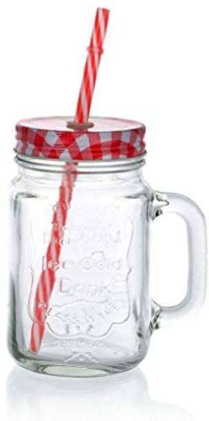 Satyam Kraft Mason Glass Jar - RED Pattern lid with folded straw and handle Glass Mason Jar
