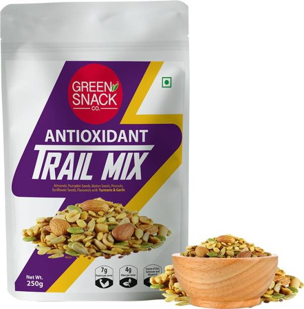 The Green Snack Co. Antioxidant Trail Mix 250g | With Turmeric & Garlic | Healthy Roasted Snacks | Diet Snacks | Immunity Boosting | Protein & Fiber Rich | No Added Preservatives | Almonds, Flax seeds, Melon Seeds, Sunflower Seeds, Pumpkin Seeds Assorted Seeds & Nuts