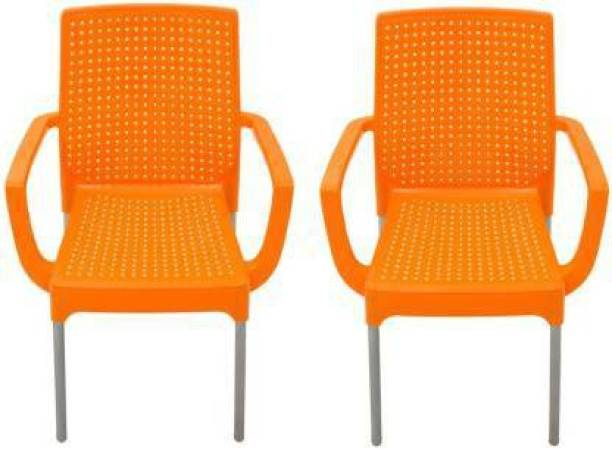 ITALICA ( SHREE GANESH ONLINE ) original seller Work From Home Luxury Chair for Home and Office and dinning ( 2 years Warranty) Pack of 2 (Orange) Plastic Cafeteria Chair