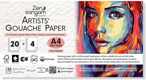 Zen Sangam Artists' Gouache Painting Paper - 300GSM, A4 Size (21x29.7cm) - Cold Pressed Rough Grain Surface, Contains 24 Sheets, Acid Free - for Gouache, Acrylic, Watercolour, Tempera and Mixed Media Unruled A4 300 gsm Watercolor Paper