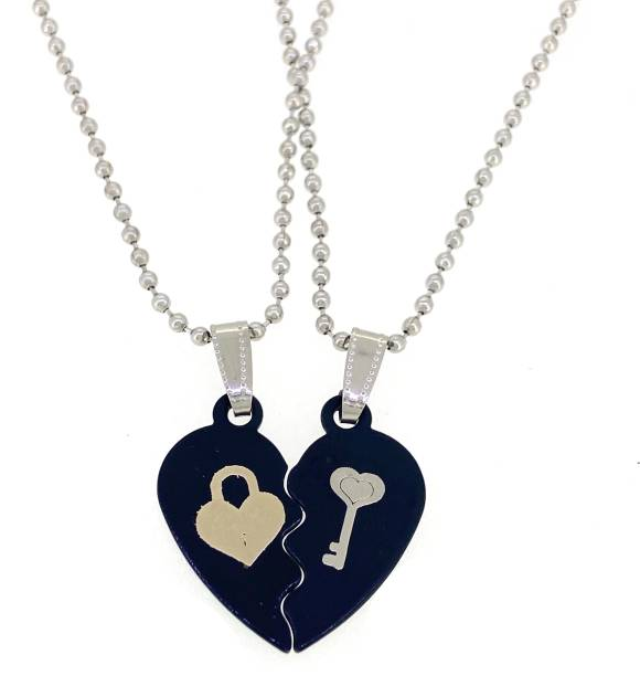 Devora Lock and Key Lover Couple I Love You black Heart Locket With Chain for Valentine's Day Gift (2 pieces - his and her) mens and women Rhodium Stainless Steel Pendant Set