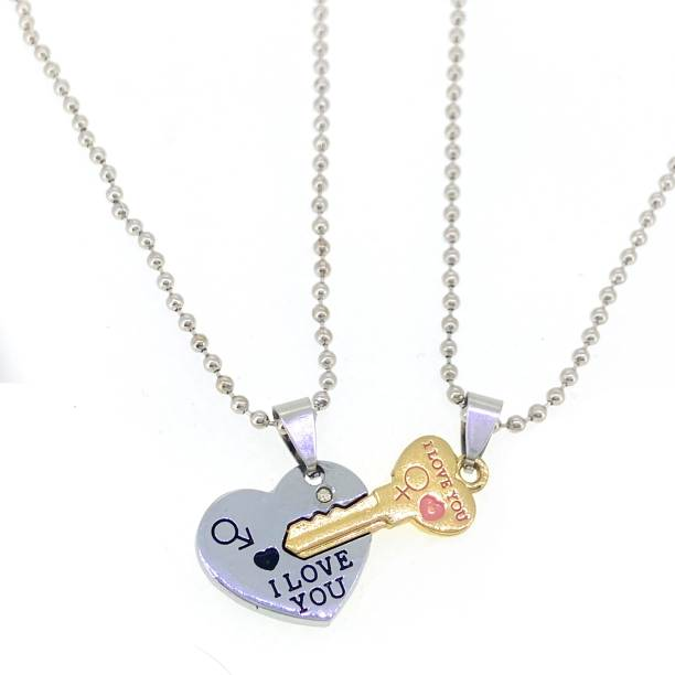 Devora His and Hers Lover Couple I Love You Heart & Key Locket With Chain for Valentine's Day Gift (2 pieces - his and her) Rhodium Stainless Steel Pendant Set