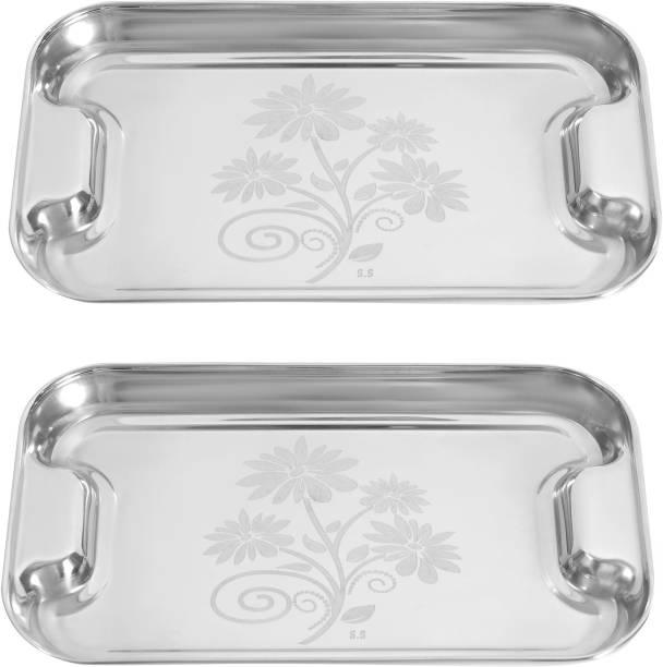 Nirvika Stainless Steel Serving Tray/lemon Platter with steel Finish,Multipurpose Tray, Set of 2 Dinner Plate