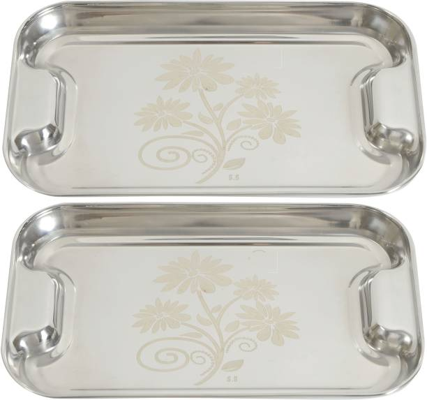 Redific Steel Tray Set of 2 Serving Tray for Serve Food, Coffee ,Tea, Fruit, Desert, Use as Party Plate, Platters Plate Bowl Serving Set Tray Plates Tray for Dry Fruits, Fruits Plates Trays Dishes Serving Trays Quarter Plate Tray Break Resistant serving Tray ( Size: Small and Medium)(Set of 2) Tray
