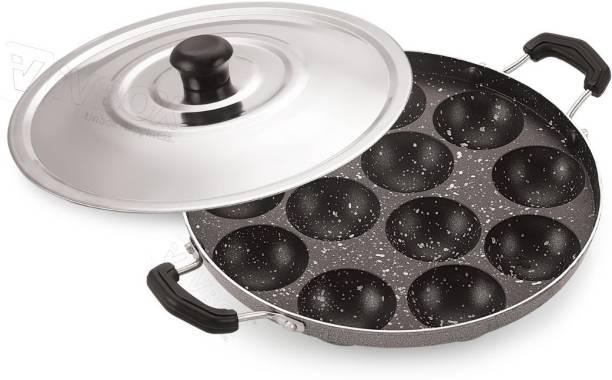 iVBOX ® Granite-New Non-Stick 12 Cavity Appam Maker Paddu Paniyarakkal Pan Maker Paniyaram Patra Ponganal Baati Baking Pot with Lid