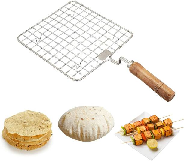 TRS Roti/chappati roster, grill, roster stainless steel wooden handle Papad Jali, Paneer Grill, Roti Maker, Barbeque Jali Roaster Chapati Toast Grill Wooden Handle (Silver) Steel Hand Blender Whisker Latte Maker for Milk Coffee Egg Cake Beater Juice for Cup Bowl Combo Pack with Silicone Brush Spatula 1 kg Roaster