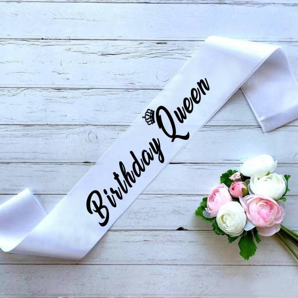 """Style Secrets Premium Quality 3"""" White Satin Birthday Queen HD Printed Sash for All Age Group Girls Birthday Party"""