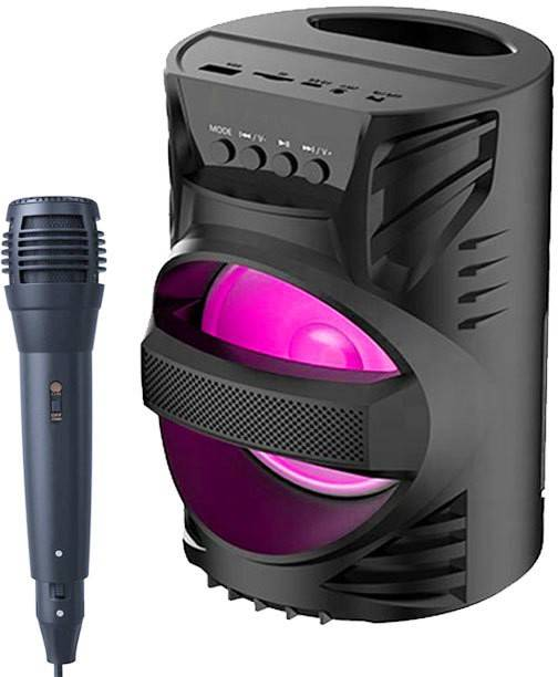 YODNSO LZ-4104 3D ULTRA SOUND Portable Led Light subwoofer sound system with DJ light Carry Handle-Travel Speaker Support Bluetooth, FM Radio, USB, Micro SD Card Reader, AUX with [FREE Mic] 10 W Bluetooth PA Speaker