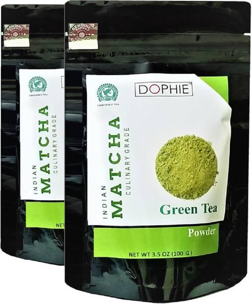 dophie Matcha Green Tea Powder Culinary Grade - Excellent Weight Loss - More Antioxidants than Green Tea Bags- 100g[PACK-2] Unflavoured Matcha Tea Pouch