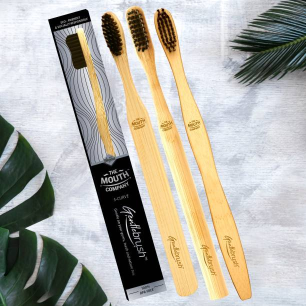 The Mouth Company Gentlebrush Family Pack - Premium Bamboo Toothbrush with Charcoal Activated Bristles Medium Toothbrush