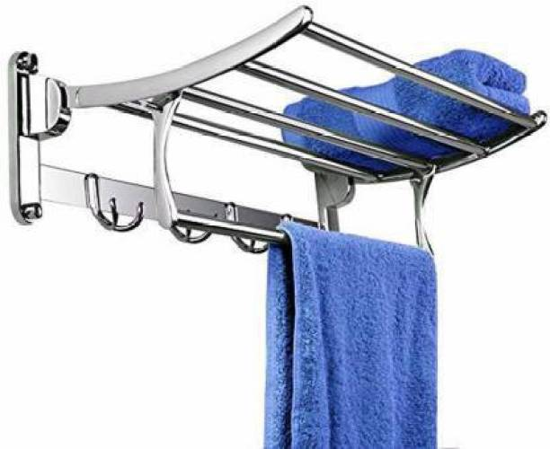CSI INTERNATIONAL Premium Stainless Steel Folding Towel Rack/Towel Stand/Hanger/Bathroom Accessories(18 Inches) Chrome Plated Towel Holder (Stainless Steel) 18 inch 1 Bar Towel Rod