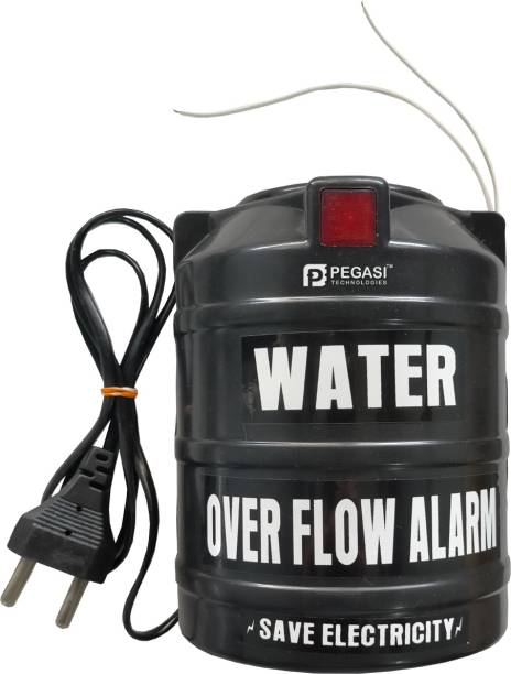 PEGASI Black Color Water Tank Overflow Alarm Siren with Voice Sound, Security System Water Alarm Bell Water Leak Detector