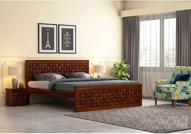 Choice Trade Wooden Bed for Bedroom   Solid Wood Designer Bed Without Storage   Sheesham Wood, Honey Finish Solid Wood Queen Bed