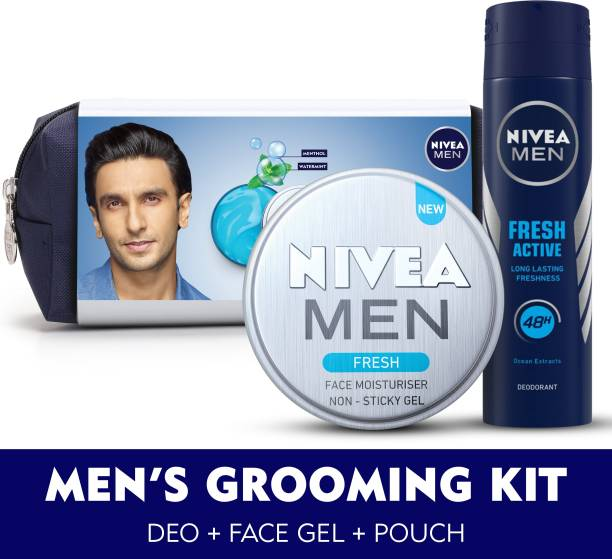 NIVEA MEN Grooming Kit, Fresh Face Moisturizer Gel 75 ml, Fresh Active Deo 150 ml, with Grooming Pouch
