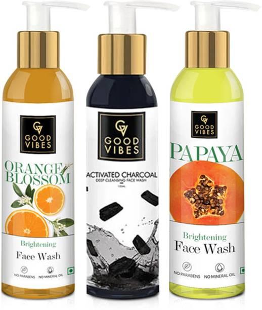 GOOD VIBES Activated Charcoal, Papaya & Orange Blossom  Combo Face Wash