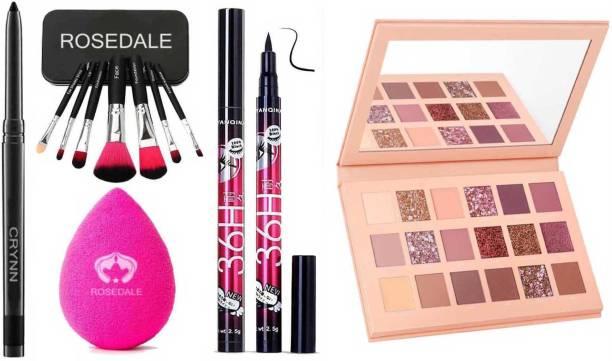 Crynn Smudge Proof HDA64 Makeup Beauty Kajal & Set of 7 Makeup Brush & Blender Sponge Puff & 36H Deep Black Eyeliner & Nude Velvet Eyeshadow Palette