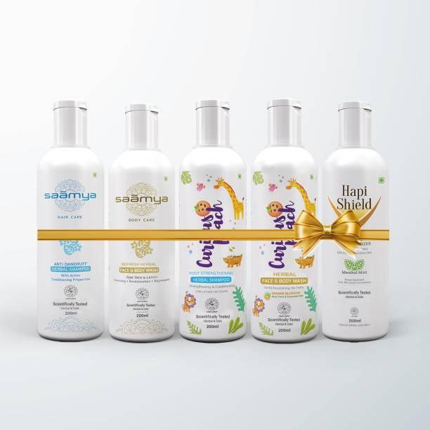 Saamya Bath & Body Gift set for Family, Adults, Kids (Anti Dandruff Shampoo, Multi Purpose Face & Body Wash, Everyday Herbal Shampoo & Face & Body Wash & Hapi Shield Hand Sanitizer) [Scientifically Validated. Ayurveda & Herbal]