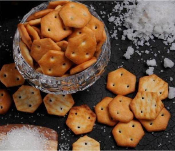 Gattani Sales Vegan Salted Mini Biscuits | Salted Crackers | Hexagonal Biscuit