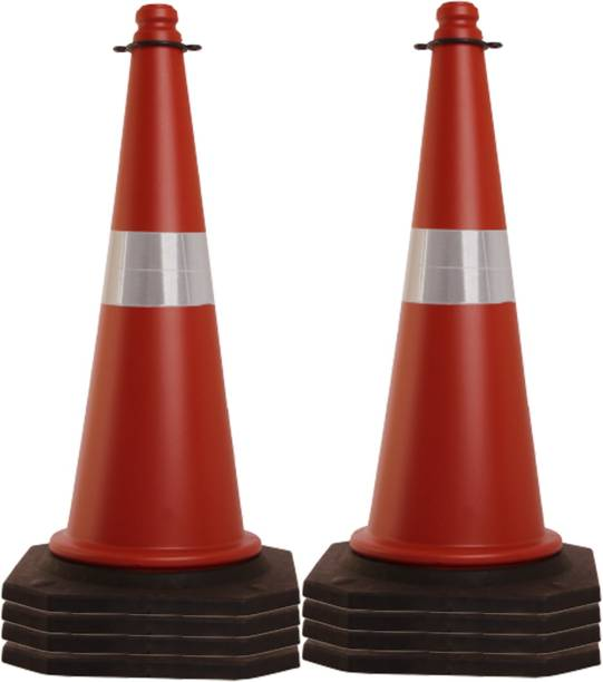 Ladwa 8 Pcs 750mm Impact Resistant Road Traffic Safety Cones with Reflective Strips Collar (Universal Size) Emergency Sign