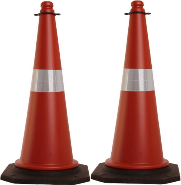 Ladwa 750mm Impact Resistant Road Traffic Safety Cones with Reflective Strips Collar (Universal Size) Emergency Sign