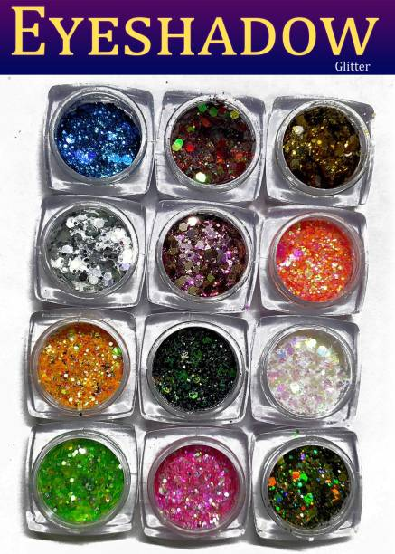 VOZWA Colorful Eyeshadow Glitter Powder Thick & Thin - 12 Pcs 12 g