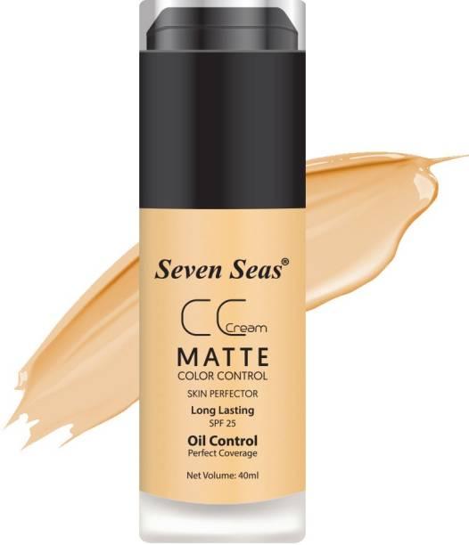 SEVEN SEAS CC Crème Matte Foundation NATURAL BEIGE - Color Control & Skin Perfector SPF-25 Foundation