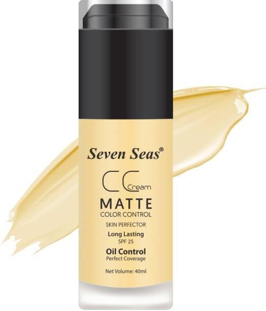 SEVEN SEAS CC Crème Matte Foundation SUN BEIGE - Color Control & Skin Perfector SPF-25 Foundation