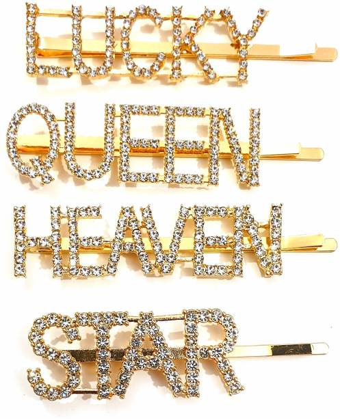 HOMEMATES Word Letter color Hair Clip, Bling Rhinestone Letter Bobby Pins, Word Barrettes Crystal Hair Pins, Metal Hair Clips, Golden Sparkly Stylish fancy Jewellery Hair Accessories for Women Girls 4 Pcs Hair Pin