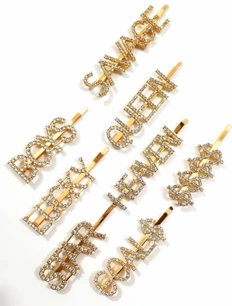 HOMEMATES Word Letter color Hair Clip, Bling Rhinestone Letter Bobby Pins, Word Barrettes Crystal Hair Pins, Metal Hair Clips, Golden Sparkly Stylish fancy Jewellery Hair Accessories for Women Girls Hair Pin