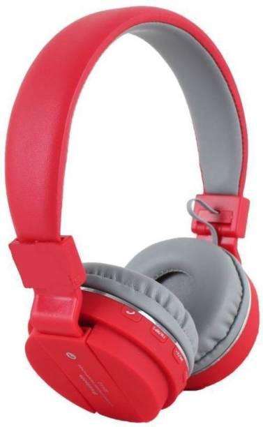 blue seed Wireless Bluetooth Headphone Clear Bass Headphone (RED) Bluetooth Headset