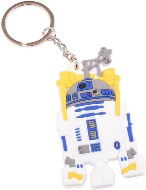 RVM Toys Doublesided Rubber R2D2 Star Wars Keychain Robot Spaceship Design Yellow Blue Key Chain for Car Bike Men Women Keyring Key Chain