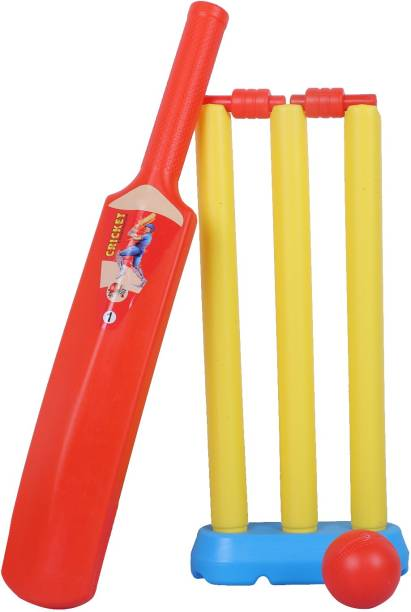 cktech Light Weight Plastic Cricket KIT for Kids Cricket kit for 3-7 Year Boys Bat & Ball Set for Best Birthday Gift Items, (1 bat, 1 Ball,3 wickets, 2 Stamp,1 Stand) NO-1 Cricket Kit