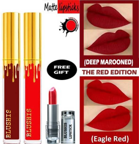 BLUSHIS High Defination Waterproof kissproof Smudge proof Long Lasting Liquid matte Lipstick Non Transfer Combo Pck of 2 Red Edition [ Red ,Deep Marrooned]