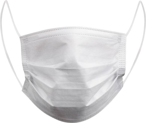 Halo Face Mask 3 PLY With Melt Blown Layer - White - (100 PCs) Surgical Mask With Melt Blown Fabric Layer