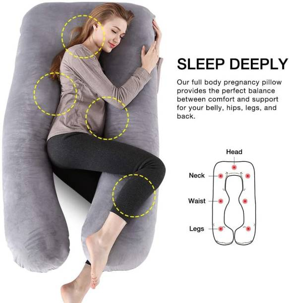 Hiputee Pregnancy Pillow Polyester Fibre Solid Pregnancy Pillow Pack of 1