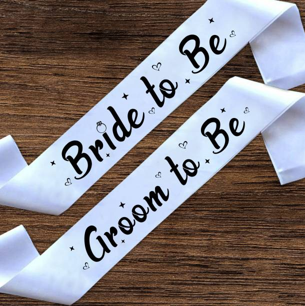 """Style Secrets Premium Quality 3"""" White Satin Bride to Be and Groom to Be Sash for his and Her ( Pack of 2 )"""