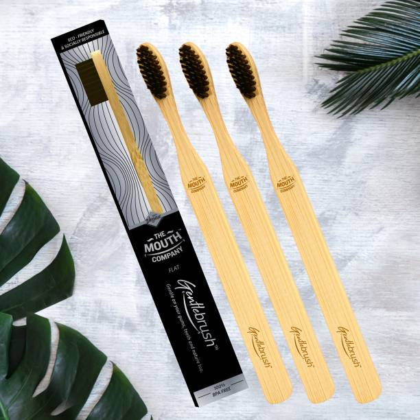The Mouth Company Gentlebrush Flat - Premium Bamboo Toothbrush with Charcoal Activated Bristles Ultra Soft Toothbrush