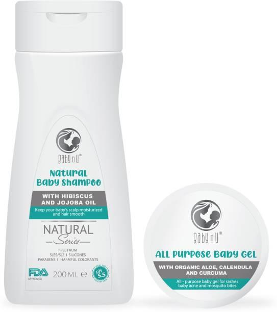 BabynU All Purpose Natural Baby Gel with Organic Aloe, Calendula and Curcuma  ph 5.5 Balanced (50 gms) and Natural Shampoo with Hibiscus and Jojoba Oil ph 5.5 Balanced (200ml)