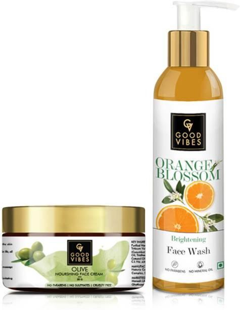GOOD VIBES Orange Blossom Face Wash & Olive Face Cream Combo