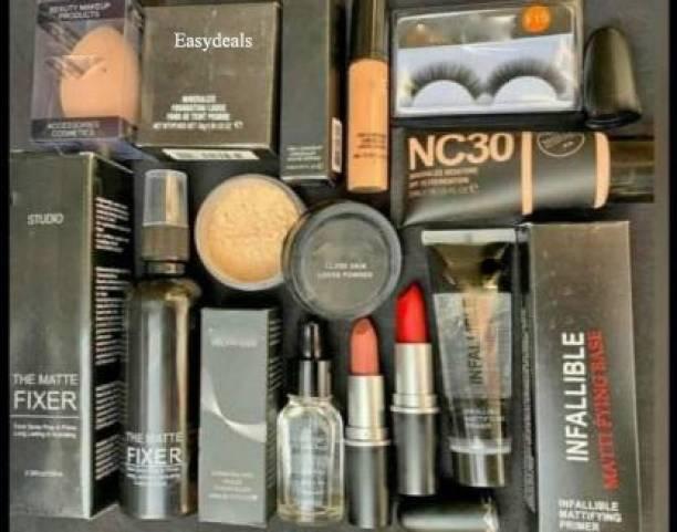 Easydeals Makeup kit combo pack of 11, Essential Oil, Face Primer, foundation, Concealer, Loose Powder, Blender, Makeup Fixer, Compact Powder face powder, 2 lipstick , eyelashes, (11 Items in the set) Makeup kit combo pack of 11, Essential Oil, Face Primer, foundation, Concealer, Loose Powder, Blender, Makeup Fixer, Compact Powder face powder, 2 lipstick , eyelashes,