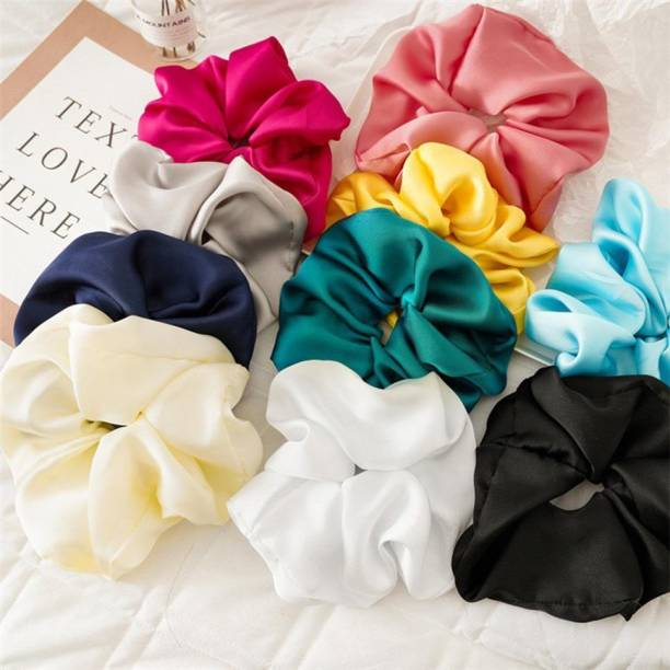Pia Creations 12 Pcs Satin Hair Bands Ponytail Ties Hair Scrunchies Flower Hair Scrunchies Girl Hair Accessory, Great for Casual and Party Dress Rubber Band (Multicolor) Rubber Band (Multicolor) Rubber Band