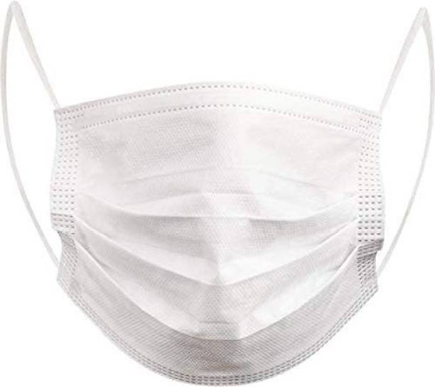 Halo 3 Ply Non woven Surgical/Disposable Face Mask, Spun Bond (White) Mouth Cover with Non-woven Fabric (Pack Of 250) Surgical Mask