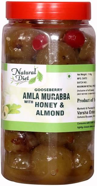 Natural Diet Organic Mother Made Homemade Gooseberry Amla Murabba with Honey & Almond Badam (Ingredient: Muskmelon Seeds Red Karonda Cherry Cardamom/Elichie) 1Kg Amla Murabba