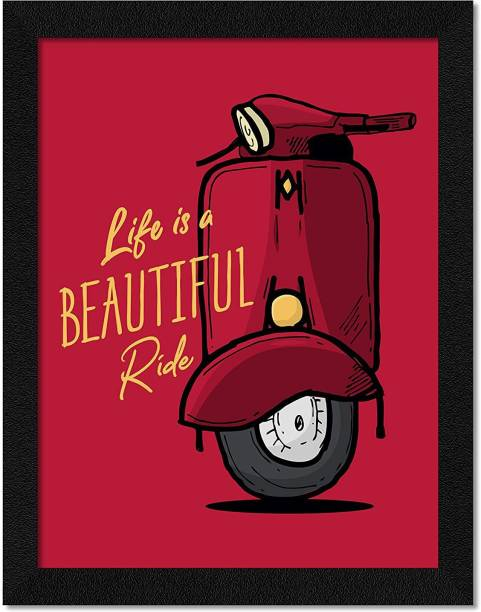 CRAFTSCORNER CRAFTSCORNER Motivational Quote Life is a Beautiful Ride Wall Art Framed Painting Multicolor, MOTIVATIONAL FRAME FOR OFFICE, HOME, ROOMS,CAFE Digital Reprint 14 inch x 10 inch Painting