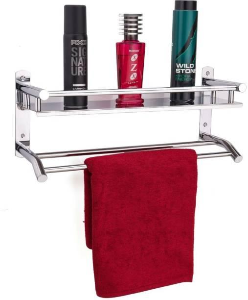 Flipkart SmartBuy High Grade Stainless Steel Glossy Nickel Chromed Plated Bathroom Shelf With Double Towel Rod / Bathroom Organizer / Bathroom Storage Rack / Bathroom Accessories Stainless Steel Wall Shelf