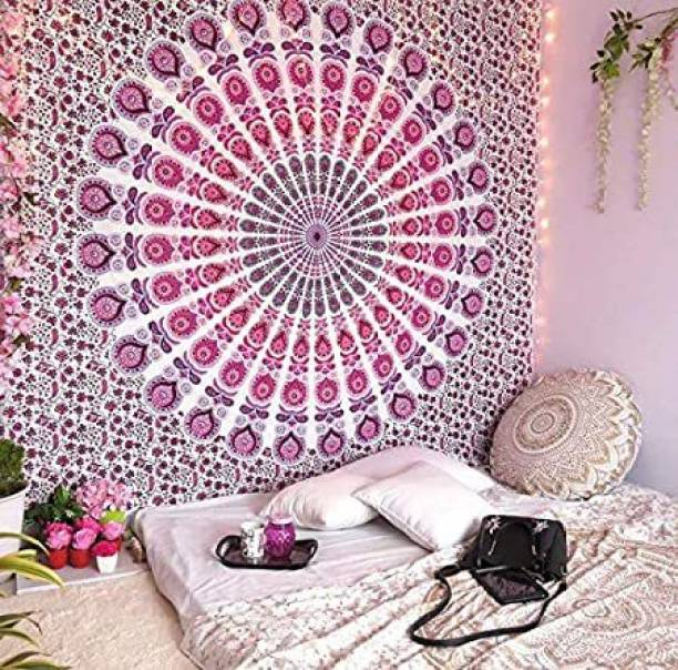 Heyrumbh Handicrafts Bohemian Pink Peacock Wing Mandala Wall Hanging Bedsheet Bedcover Room Dorm Decoration (Size 84 x 54 inches) Tapestry
