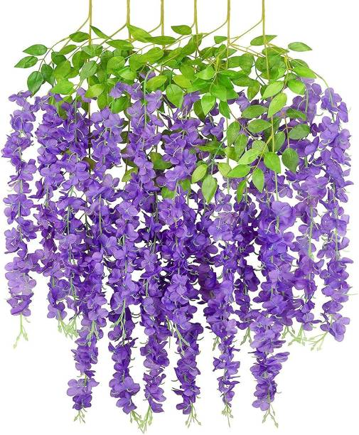 Siddhivinayak Siddhivinayak Artificial Flower for Home Decoration Plants Plastic Flowers Decor Items Decorative Flowers Hanging Bunch Creepers Garlands Leaves for Vase Wedding Room (Purple, 6) Purple Westeria Artificial Flower