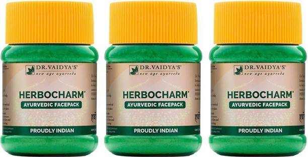 Dr. Vaidya's Herbocharm Powder - Ayurvidc face pack contains Haldi and Dhania - Buy Two Get One - Pack of 3